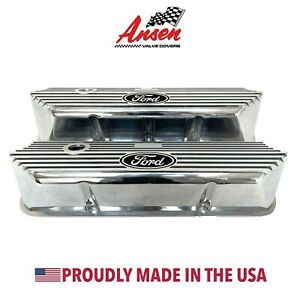 Ford Fe Tall Polished Valve Covers Deeply Engraved Ford Logo Ansen Usa
