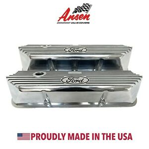 Ford Fe Tall Valve Covers Silver And Black Ford Logo Polished Ansen Usa