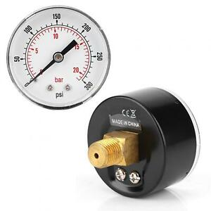 Pressure Gauge 1 4 Bspt Back Connection For Air Water Oil Gas 0 300psi 0 20bar