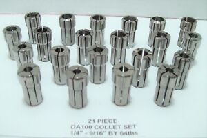 Da100 Collet Set 21 Pc 1 4 9 16 By 64ths Set Is In Great Condition Da 100