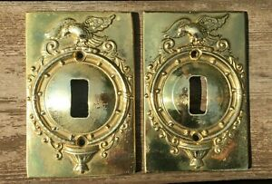 Lot Of 2 Virginia Metalcrafters Vm 24 42 Cast Brass Single Switch Plate Eagle