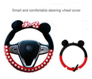 New Minnie Mickey Mouse Cartoon Car Steering Wheel Cover Plush Bow Interior