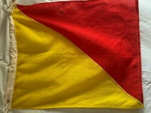 Vintage Nautical Signal Flag Letter O 18 X 21 Yellow Red Maritime