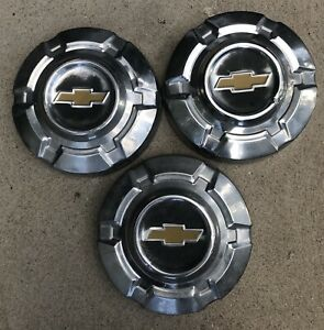 Vintage 1967 72 Chevy Truck 1 2 Ton 3 Yellow Dog Dish Hubcaps Wheel Covers