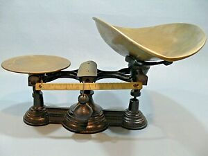 Antique Cast Iron Brass Balance Scale Henry Troemner Phil Pa 1877 Tagged Rx Deco