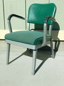 Vintage Office Industrial Metal Arm Chair Green Upholstered From Eddie Bauer Wa