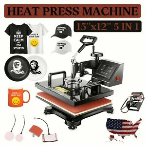 15 x12 5 In 1 Combo T shirts Heat Press Transfer Machine Sublimation Swing Away