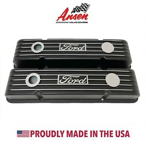Small Block Chevy Classic Finned Valve Covers Black With Engraved Ford Logo