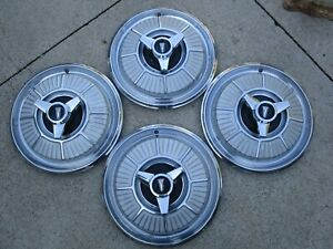 Vintage 1965 Plymouth Spinner Hubcaps nice Used set Of 4