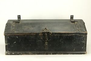 Antique 1800 S Stagecoach Wagon Carriage Trunk Black Pained Box Rare