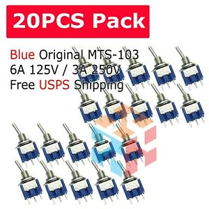 20pcs 3 Pin Spdt On off on 3 Position Mini Toggle Switches Mts 103 Us Free Ship