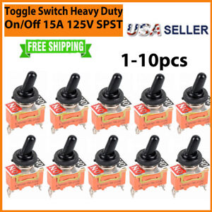Toggle Switch On off Heavy Duty 15a 125v Spst 2 Terminal Car Atv Waterproof 1 10