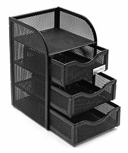 Easypag Mesh Desk Supplies Organizer With 3 Drawer Office Desktop Organizers And