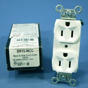 Pass Seymour White Commercial Duplex Receptacle Outlet 15a Br15 wcc Boxed