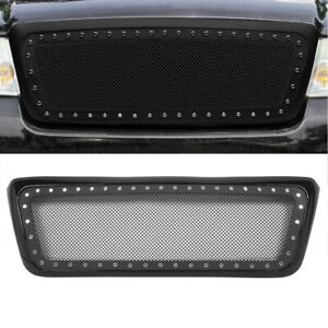 Front Bumper Hood Grille Grill For 04 08 Ford F 150 Stainless Black Mesh Rivet