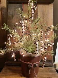 Primitive Folk Art Lighted Candy Cane Cypress Tree Pine Cones Old Sap Bucket