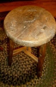 Antique Primitive Mortised Wooden Stool Farm Fresh Unusual 21 Tall