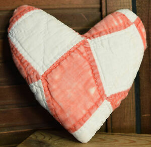 Primitive Small Quilt Heart Valentine Bowl Filler Cupboard Tuck Red White