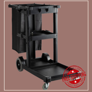 Janitorial Black Cleaning Cart Janitor Cart With 3 Shelves And Vinyl Bag