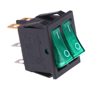 Double Boat Rocker Switch 6 Pin On off With Green Light 20a 125vac Kcd6 exatdc