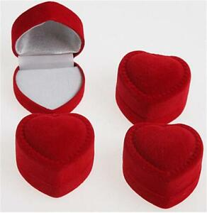 10pc Velvet Red Heart Shaped Ring Box Retail Store Jewelry Display Wedding Niedc