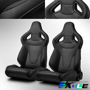 Black Universal Pvc C Series Reclinable Sport Racing Seats Pair With Slider