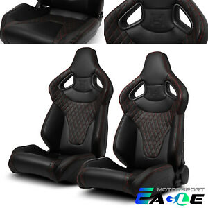 2x Black W Red Stitching Pvc C Series Reclinable Racing Seats Left Right