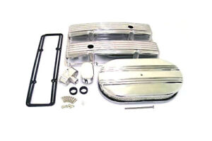 Small Block Chevy Finned Aluminum Engine Dress Up Kit Covers Air Cleaner Pcv