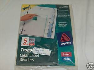 Avery 11449 Index Maker 5 Tabs Clear Label Divider 5pks