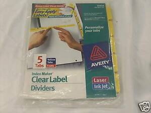 Avery 11414 Clear Label Divider 5 Tabs Yellow 2 Packs