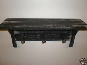 Black Weathered Looked Peg Shelf 19 Long Primitive Rustic Wood