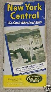 1952 New York Central Railroad Time Table Schedule Old