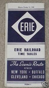 1944 Erie Railroad Time Table Old Train Schedule Old