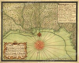 1747 Map Of The Gulf Coast Louisiana To Florida 20x24