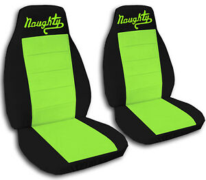 2 Front Black And Lime Green Naughty Seat Covers Universal Size