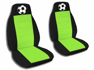 2 Front Black And Lime Green Soccer Ball Seat Covers Universal Size