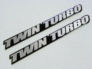 Qty 2 Vms Racing Twin Turbo Aluminum Emblems Badges Pair Fits Nissan 300zx 350z