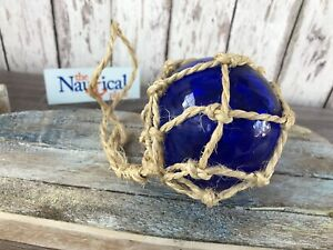3 Blue Glass Fishing Float Fish Net Buoy Ball Nautical Maritime Decor
