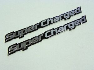 Qty 2 Supercharged Blown Engine Emblems Badge Fender Trunk Bumper Hood Scoop