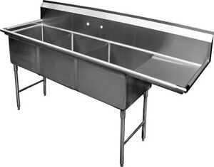 3 Compartment S s Sink 15 x15 With Right Drainboard