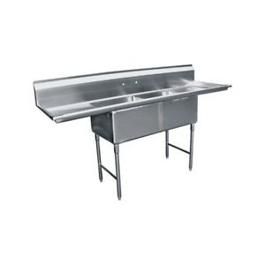 2 Compartment Stainless Steel Sink 24 x24 2 Drainboard