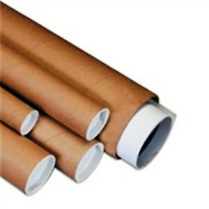 Kraft Shipping Mailing Brown Tube 3x30 W End Cap Plugs 24