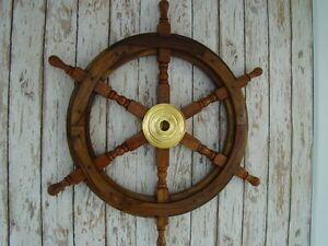 24 Wood Brass Ship Wheel Large Wooden Helm Nautical Maritime Wall Decor