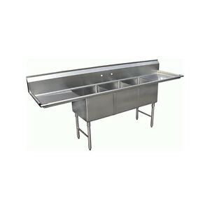 3 Compartment Stainless Steel Sink 18 x18 2 Drainboard