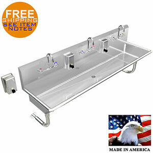 Multi Station 3 Stainless Steel Heavy Duty 72 Wall Mount Hand Sink Made In Usa
