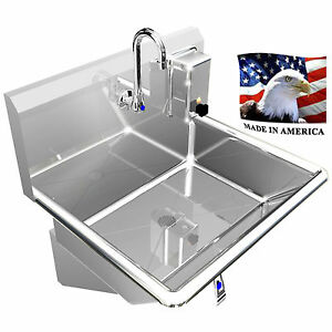 Hand Sink Basin 1 Station 24 Knee Valve Industrial Stainless Steel Heavy Duty