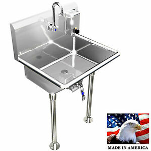 Hand Sink Wash Up 1 Station 24 Hands Free Industrial Basin Stainless Steel 304