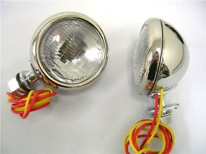1932 Ford Deluxe Cowl Lamps 32 Lights W Turn Signals 12 Volt Stainless