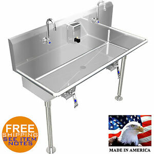 Multi station Wash Up Hand Sink 48 With Knee Valves Hands Free Stainless Steel