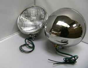 1928 1929 Ford Model A Stainless Steel Quartz Halogen 12 Volt Head Lamps Pair